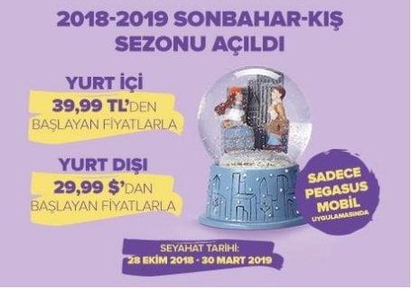 pegasus 2018-2019 sonbahar-kıs sezonu ucuz bilet kampanyası-indirimkuponumnet