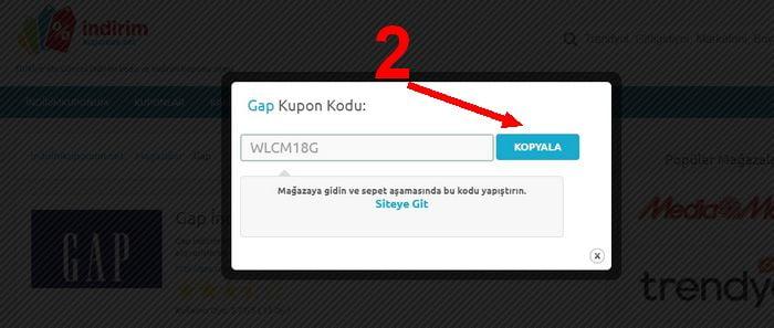 gap kupon kullanımı